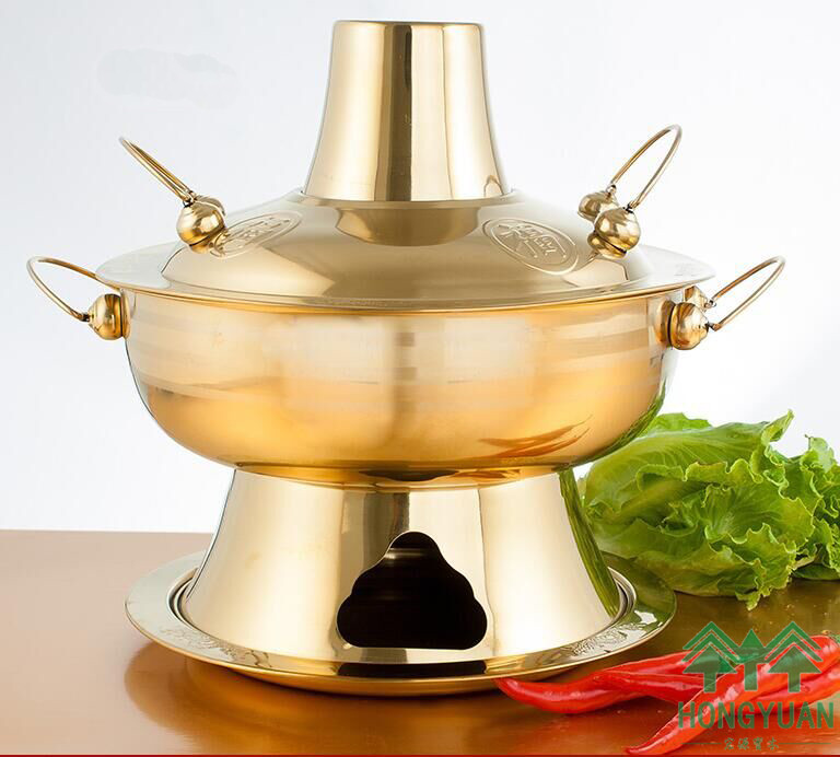 4L Imitation copper Hot pot Special Thickening stainless steel Classic Stainless Steel pot Fondue Charcoal Soup pot