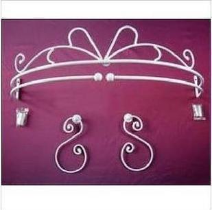 Besi tempa bingkai tempat tidur dengan 1 kait kait, Bingkai kelambu mantel tirai pemegang busana putri rak besi