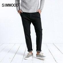 SIMWOOD 2019 zima nowy dżinsy mężczyzna mody schudnięcia napadu kostki długość spodnie ciemny myte wysokiej jakości odzież marki 180397