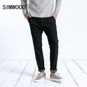 Image 1 - SIMWOOD 2019 zima nowy dżinsy mężczyzna mody schudnięcia napadu kostki długość spodnie ciemny myte wysokiej jakości odzież marki 180397