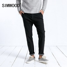 Simwood 2019 novo inverno calças de brim masculinas moda magro ajuste tornozelo comprimento calças lavadas escuras alta qualidade roupas da marca 180397