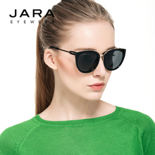 JARA Women UV400 Mirror Coating Polarized Sunglasses Fashion Style Designer Female Cat Eye Metal Frame Retro Sun Glasses J0832