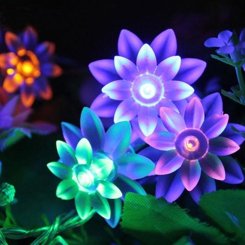 multicolor exterior solar powered flor de loto number pies de hadas luces de la secuencia
