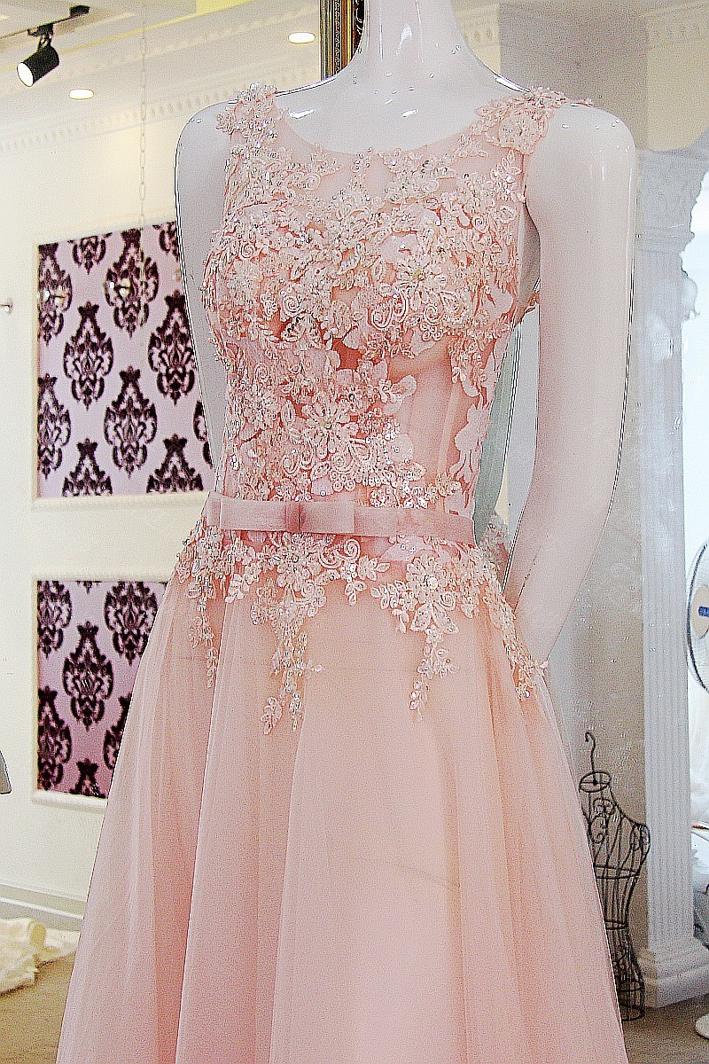 Real Photos Cheap Nude Pink Lace Wedding Dress 2017 Scoop Neck ...