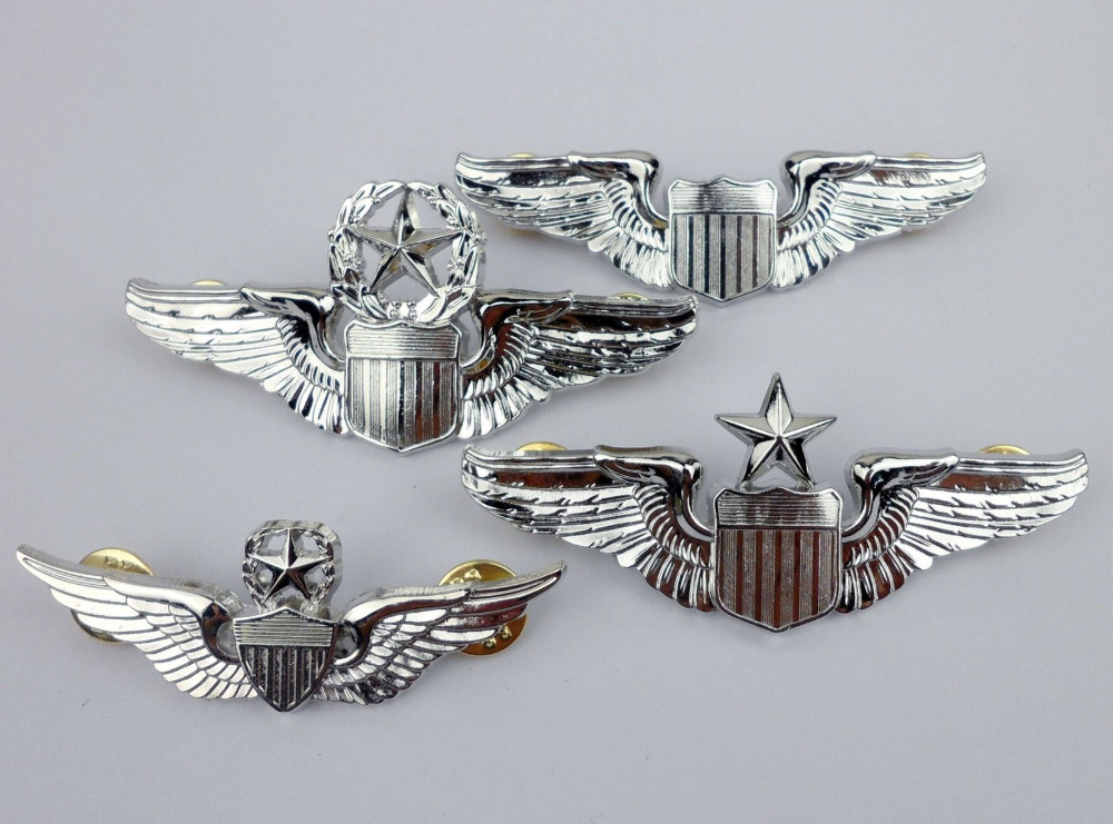 edf685f0536 SET WWII US Army Pilot Wings Badge Insignia Pin Full Size Badge- World  military Store