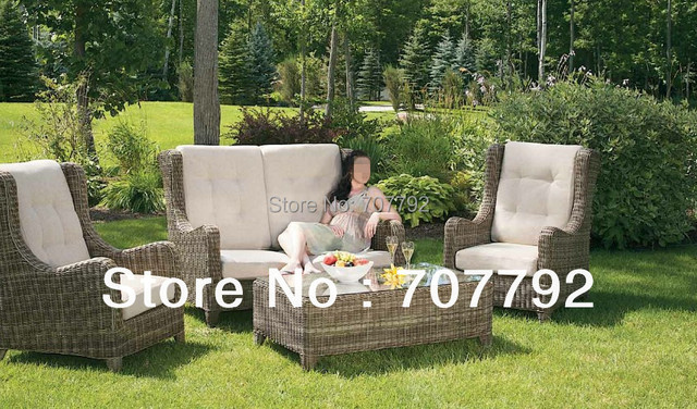 New Collection Outdoor Furniture Poly Rattan High Back 4 Seat Sofa Set