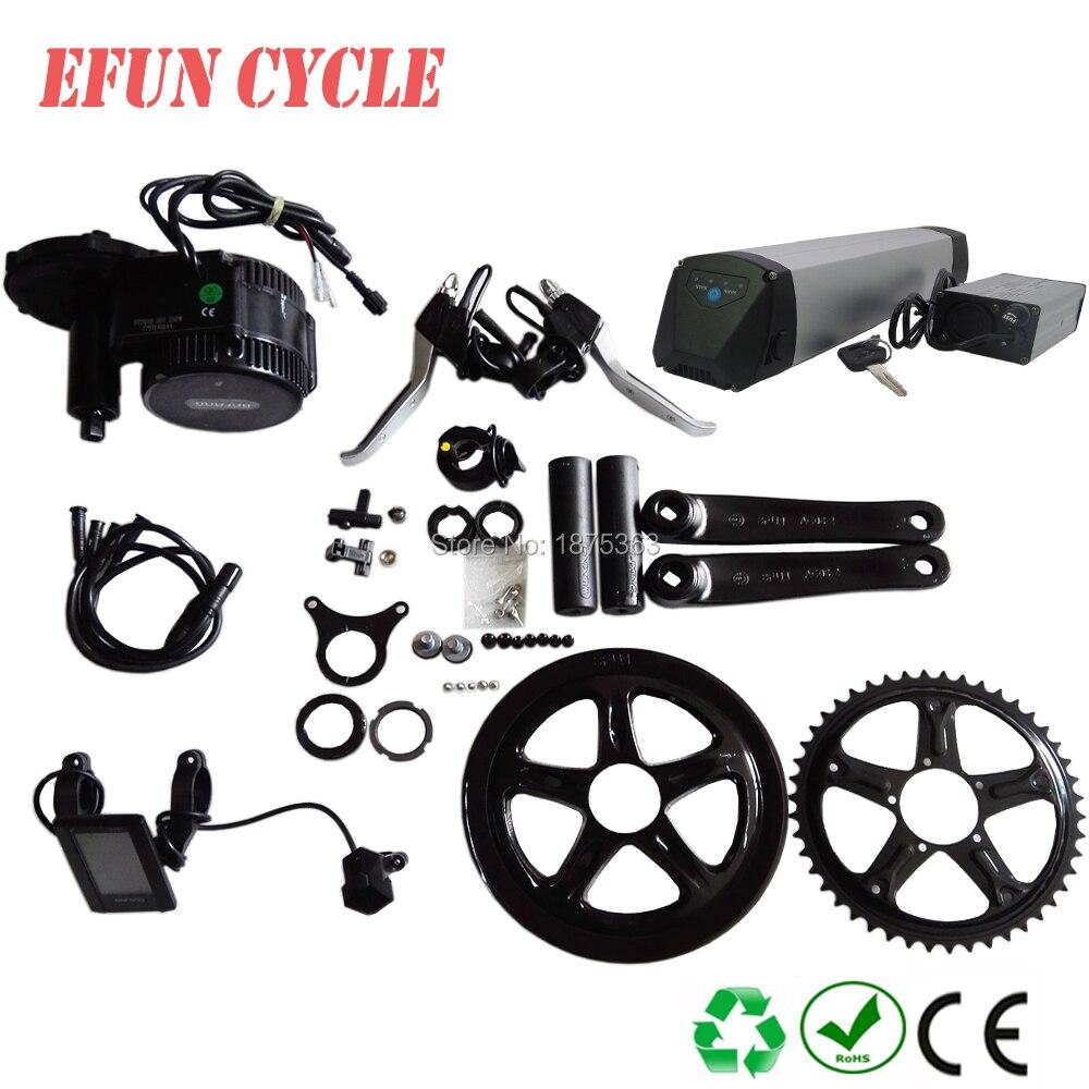 Pour Trekking ebike Lithium ion 36 V 10Ah mince tube batterie de vélo électrique avec Bafang BBS02 36 V 500 W kits de moteur d'entraînement moyen