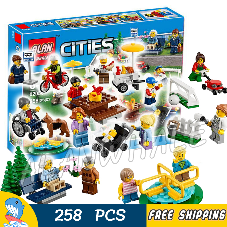 258pcs New City Town Fun in the Park People Pack 02058 Model Building Blocks Children Assemble Toys Bricks Compatible With lego lepin city town city square building blocks sets bricks kids model kids toys for children marvel compatible legoe