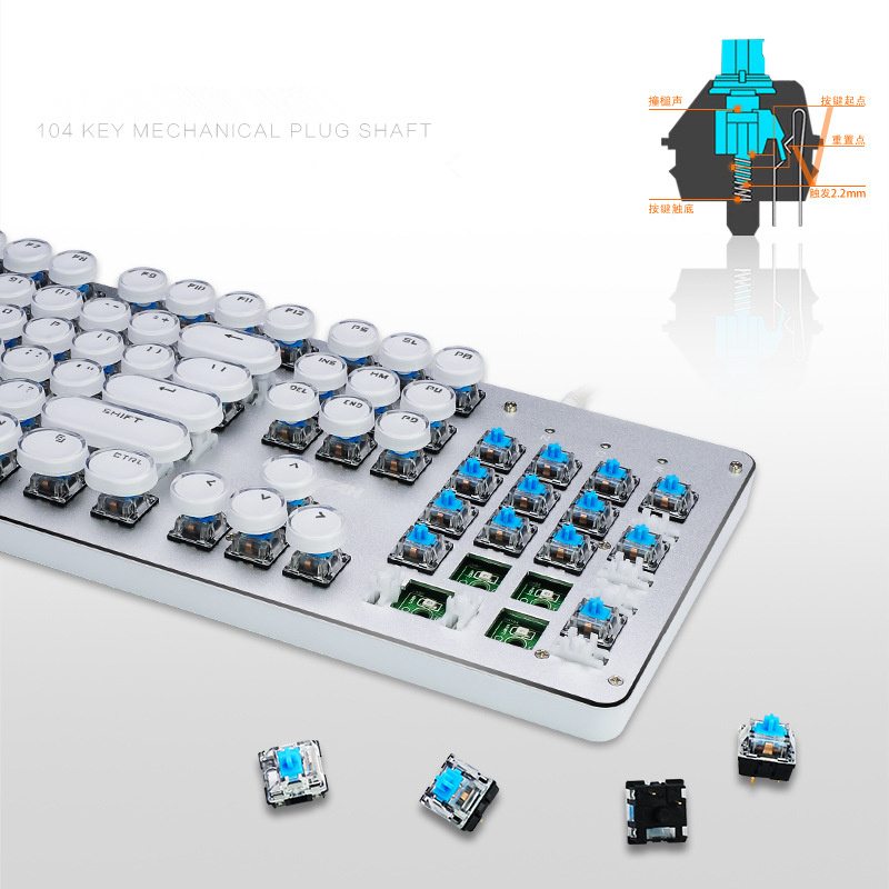 iMice K109 Mechanical Keyboard 104 Keys Blue Switch Round keycap With LED Backlight Metal Gaming Keyboard Anti-Ghosting for Game