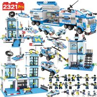 Anti Terrorism Action Model Building Blocks City Police Station Office Truck Series Set Compatible LegoINGLYS Children Toys