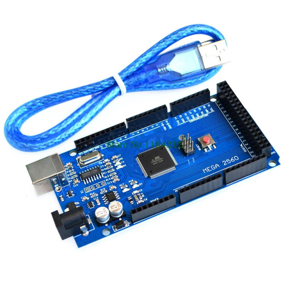 1pcs Mega 2560 ATmega2560-16AU Board Free USB Cable For Arduino