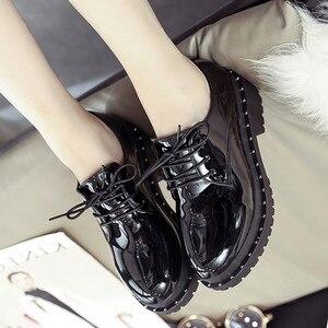 Image 3 - 2018 新スタイル英国リベット小さな靴女子学生韓国語バージョンローファー靴レディースシューズヨーロピアンアメリカンスタイル