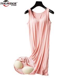 Image 2 - נשים כתונת לילה מובנה מדף חזיית תחתונית מודאלי לילה שמלה ללא שרוולים מוצק כותונת טרקלין נשי הלבשת בגדי בית