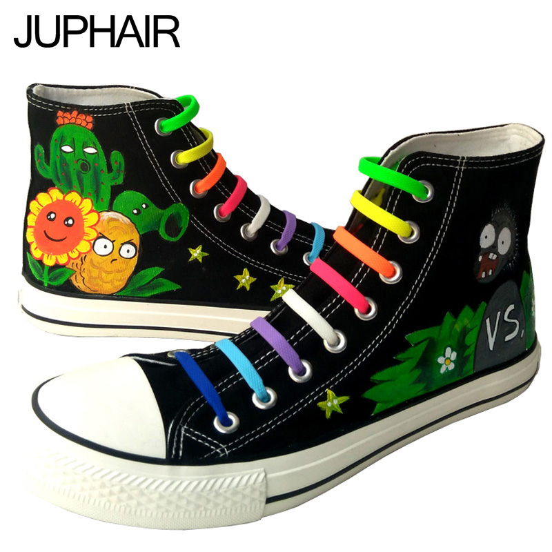 ФОТО JUP  Mens Female Hand Painted Canvas Shoes High Game Figure Statue Plants VS Zombies Design Zapatos Mujer Espadrilles Lazy Laces