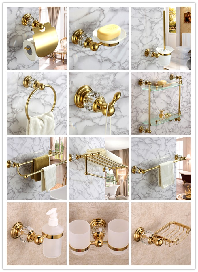 Luxury Gold 12-Piece brass Towel Rack bath shelf Robe hook paper holder Toilet brush holder Bathroom Hardware Accessory Set luxury bath accessory set golden bathroom accessories paper holder toilet brush holder single towel bar solid brass material