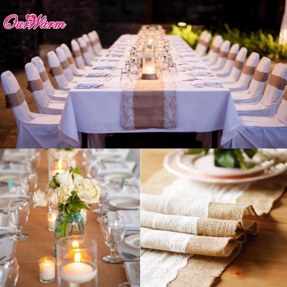 5pcs Vintage Burlap White Lace Table Runner For Hessian Wedding Natural Jute Decorations