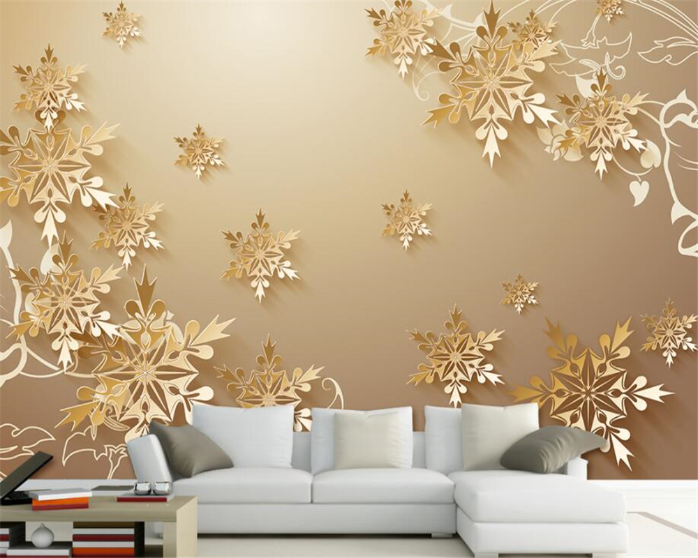 Modern 3d Wallpaper Hd Golden Flower Photo Mural Living Room Home