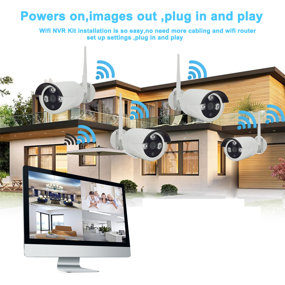 IMPORX 4CH 1080P Wireless 16 quot LCD Display CCTV NVR Kit 2MP Outdoor Security Video Surveillance Set WIFI IP CCTV Camera System 3TB in Surveillance System from Security amp Protection