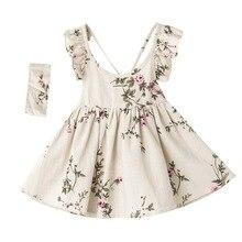 Kız Çiçek Elbiseler 2018 Çocuk Kız Keten Baskılı Elbise Bebekler Prenses Ruffles Elbise Bebek Kız Giysileri beb giyim