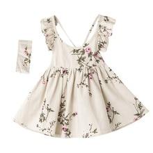 Meninas vestidos de flores 2018 crianças menina de linho impresso vestido bebês princesa babados vestido roupas da menina do bebê roupas bebe