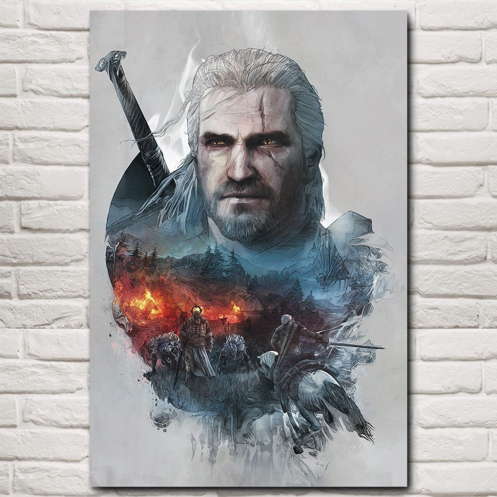 NUOMEGE Geralt The Witcher 3 Wild Hunt Hot Game Art Silk Poster 12x18 24x36 quot Picture for Home Wall Decor in Painting amp Calligraphy from Home amp Garden