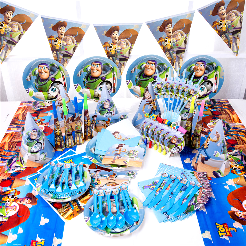 Toy Story Theme Woody Buzz Lightyear Party Decoration Paper Cup Plate Hat Baby Shower Balloons Kids Birthday Party Supplies MG04