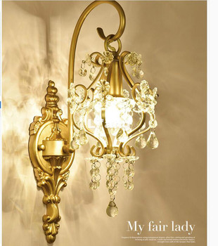 นอร์ดิกที่ทันสมัยศิลปะDecoraโกลเด้น/ขาวACคริสตัลยุโรปE14โคมไฟติดผนังโคมไฟห้องนอนบ้านแสงผนังเช...