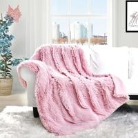 Winter autumn warm pink white plush long fur fleece bed blanket faux fur blanket christmas couverture hiver adult baby SP5609