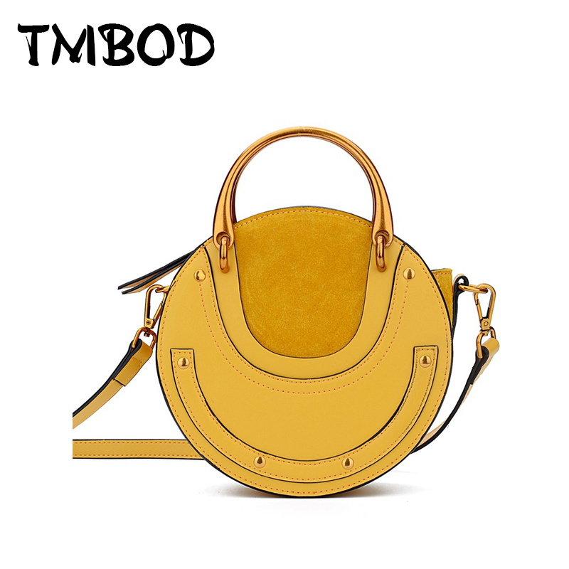 New 2017 Patchwork Scrub Barrel-Shaped Bag Tote Women Cowhide Split Leather Hand