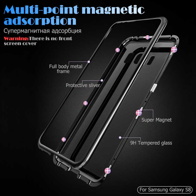 Магнитная адсорбции металлический корпус для samsung Galaxy S10 S9 S8 плюс S10E закаленное Стекло сзади Магнит Обложка для Note 8 9 чехол для телефона