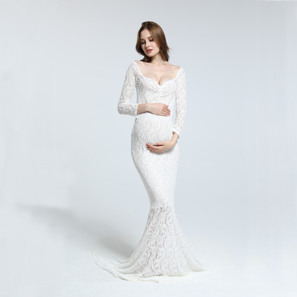 Stretch Lace Maternity Photography Dress Maxi Long Sleeves Dress Off the Shoulder Photography Dress
