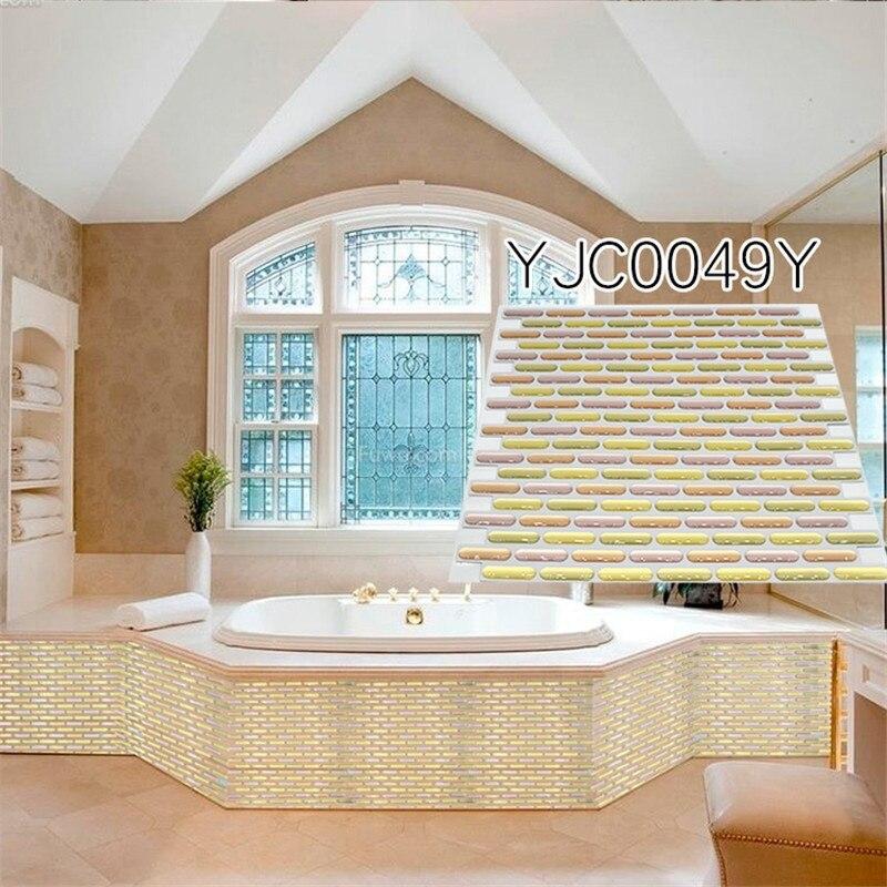 New Peel And Sticker Diy Remove Wallpaper Decor 3D Tiles Gold 257x257mm PET PU Kitchen Bathroom