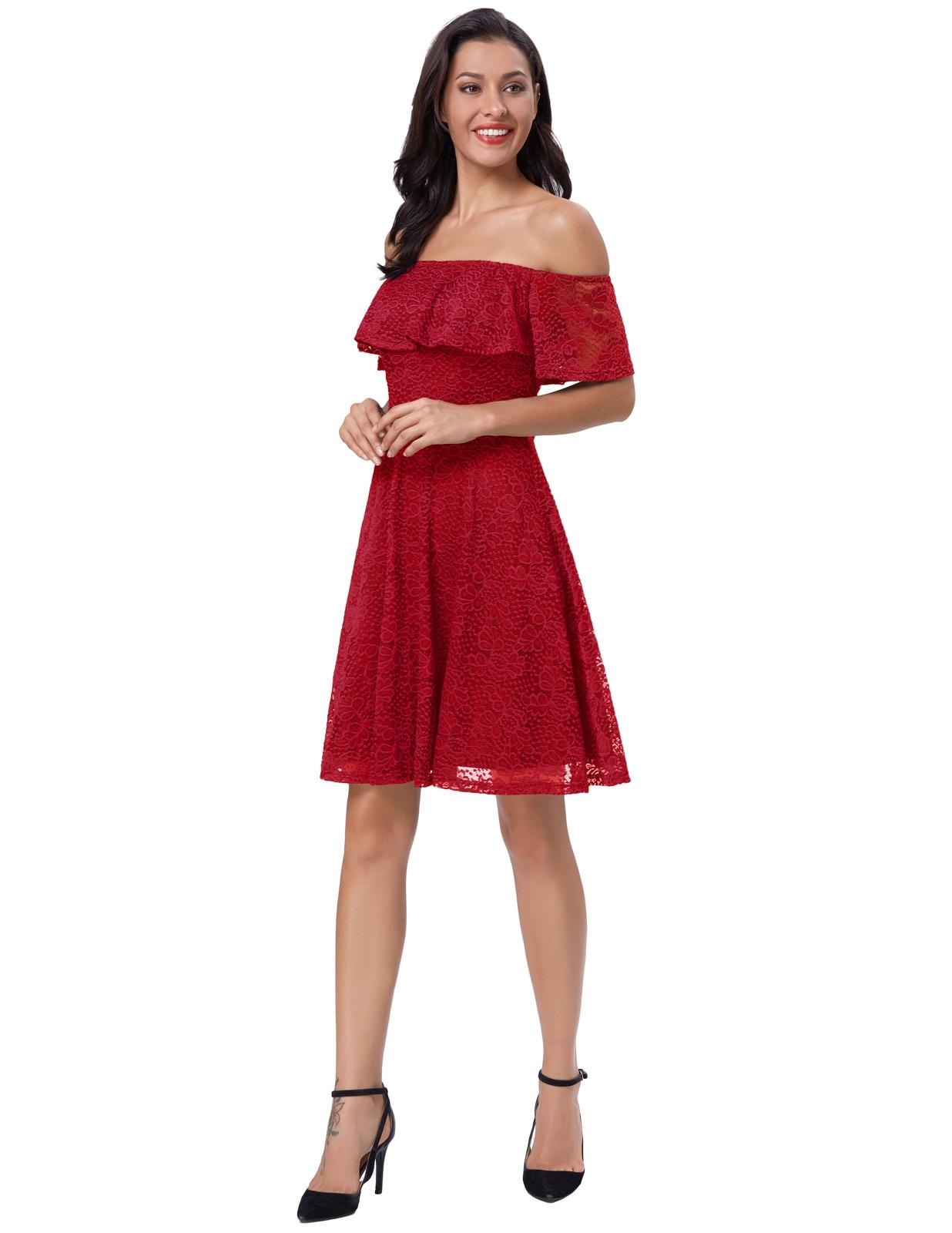 2018 New Lace Dress Womens Summer Blue Black Ruffle Sexy Slash Neck Off Shoulder Fashion Casual Womens Mini Dress