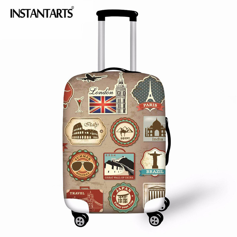 INSTANTARTS Suitcase Cover Travel Luggage Cover On Road Dustproof Luggage Protector Spandex Protection Cover For Trolley Case