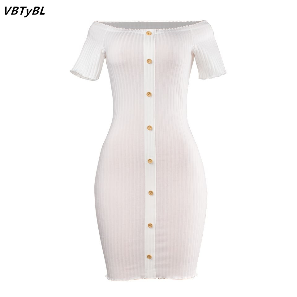 087ead6810f0 VBTyBL 2018 New dresses Women Single button Summer Strapless Bandage Slash  neck short Sleeve Bodycon Slim