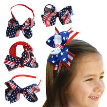 4th July American Flag Independence Day Kids Baby Girls Printed Star Striped Bow Headwear Hairbands Hair Band Accessories(China)