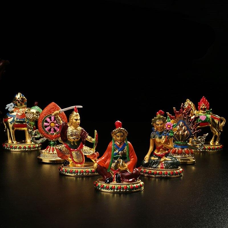 Fournitures De bouddhisme Tantrique Offres Exquis Dessin Coloré Lumineux Roi de Cakra Sept Trésors de Bon Augure Temple Figurines