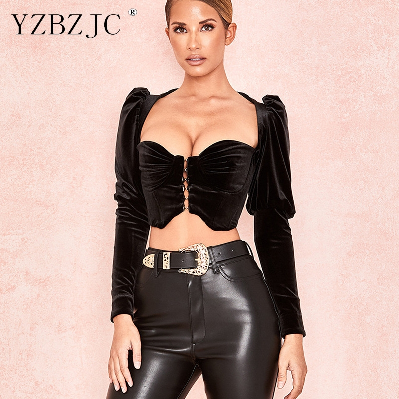 YZBZJC 2019 gold velvet U-neck long-sleeved shirt women single-breasted short cropped navel sexy top
