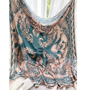 Image 2 - נהדר גדול כיכר 100% משי צעיף צעיף כורכת לנשים יוקרה משי צעיפי צעיף 110cm