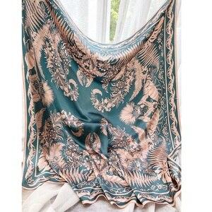 Image 2 - Châle carré en soie 100%, grand Foulard enveloppant de luxe pour femmes, écharpe de luxe, 110cm