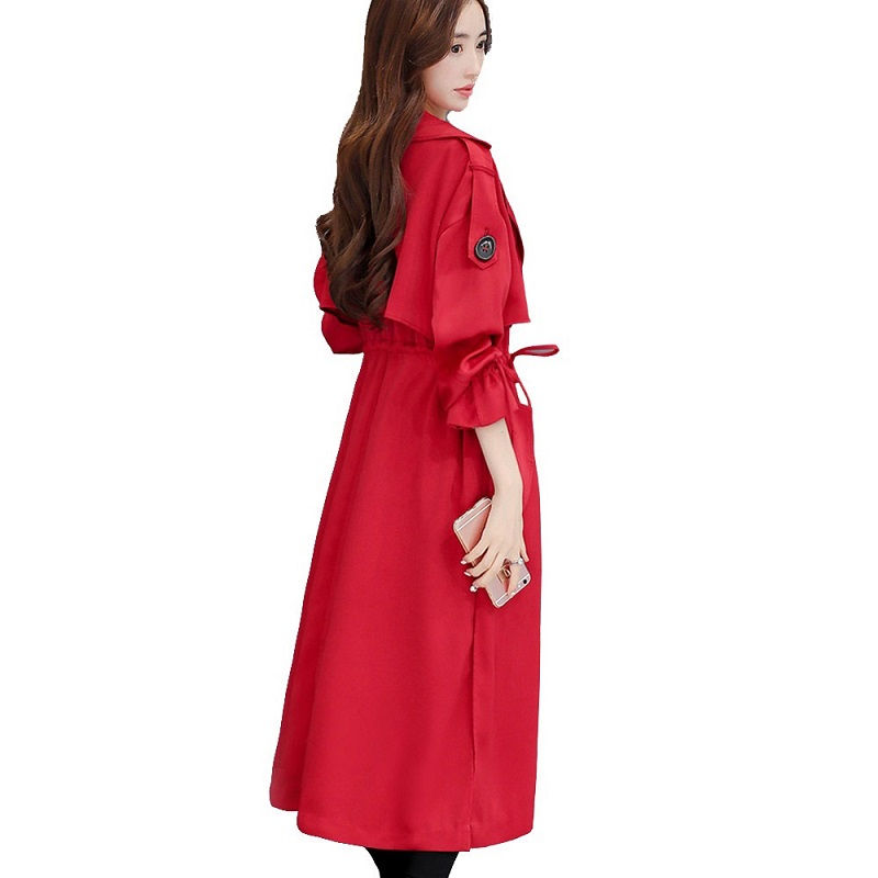 Plus Size 3XL Fashion Elegant Long Trench Coat Women Red Thin Windbreaker Spring Coat Women Double-Breasted Office Trench C4292
