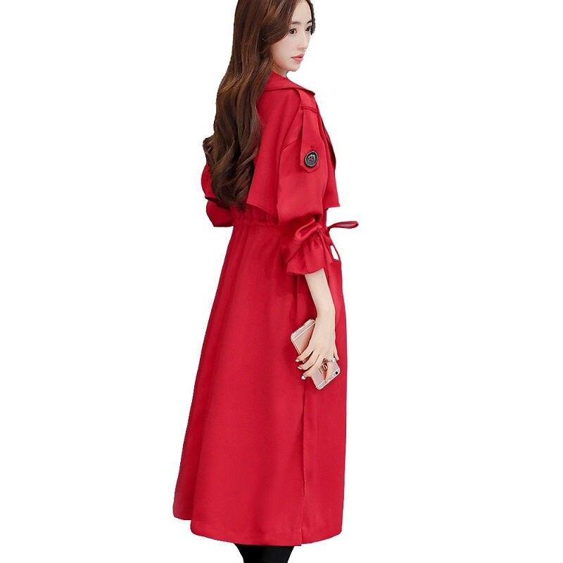 Più il Formato 3XL Moda Elegante Lungo Trench e Impermeabili Donne Cappotto Rosso Sottile Giacca A Vento di Primavera Cappotto Doppio Petto Delle Donne di Ufficio Trench e Impermeabili C4292-in Trench da Abbigliamento da donna su  Gruppo 1