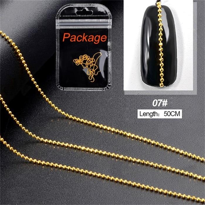3D металлические украшения для нейл-арта, золотая металлическая цепочка, бисер, линия, много размеров, змеиная кость, сделай сам, украшение для маникюра, нейл-арта, 1 коробка - Цвет: 462547