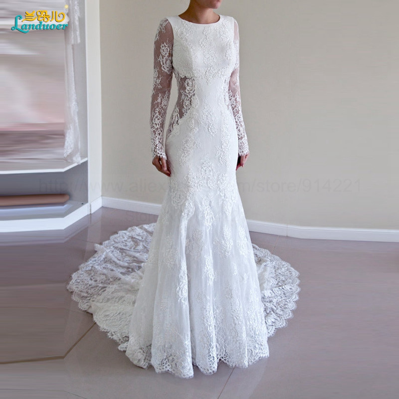 Sexy-Lace-Mermaid-Wedding-Dress-With-Long-Sleeves-New-Arrival-Fashion-Backless-Court-Train-Elegant-Bridal220