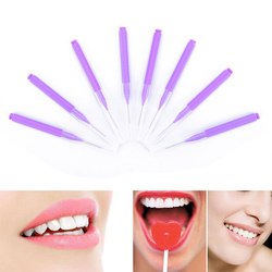 8Pcs/pack Purple Push-pull Interdental Brush Orthodontic Dental Cleaning Brushes Adults Toothpick Dental Floss
