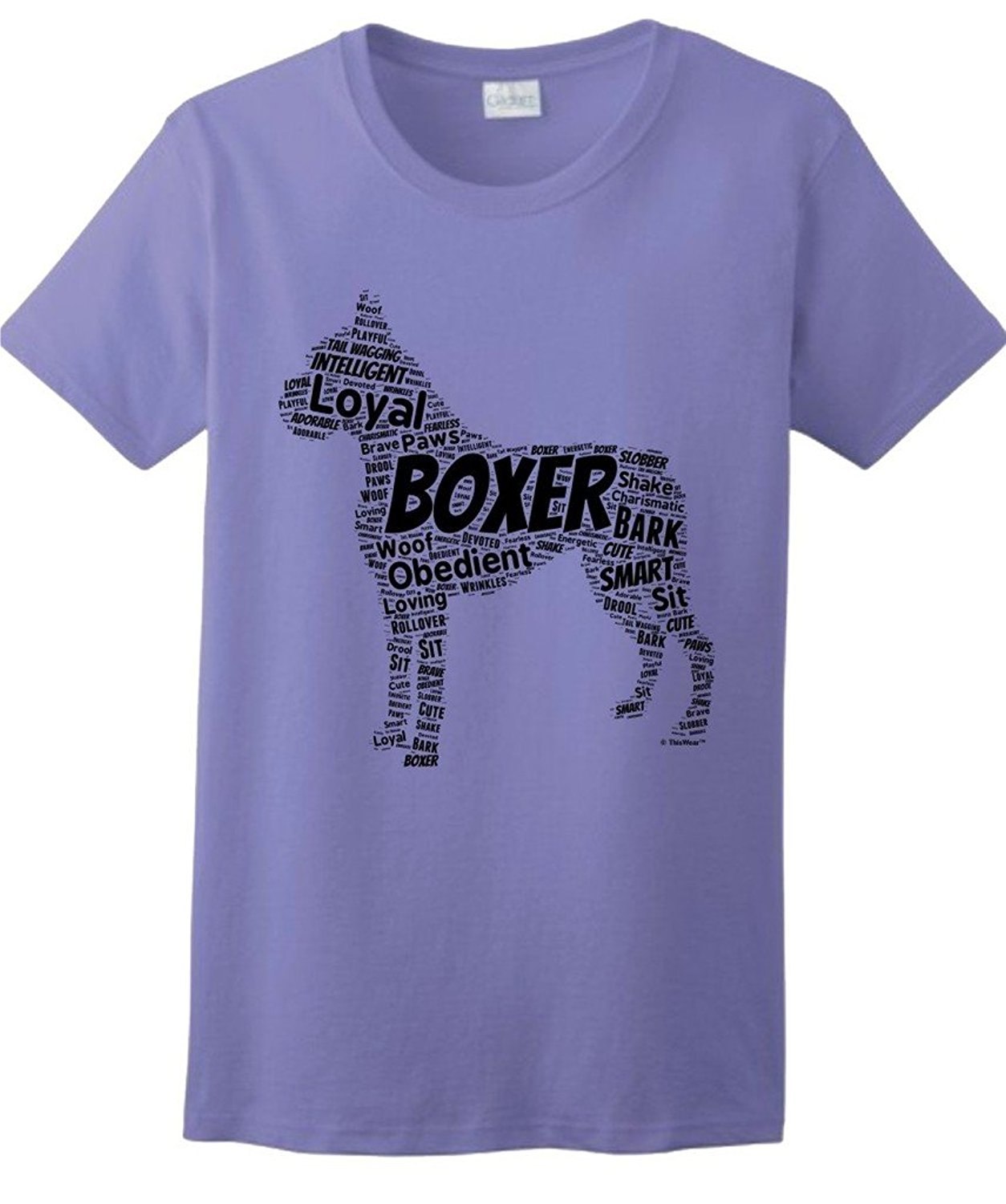 Gildan Boxer Word Art Dog Puppy Owner Gift Ladies T-Shirt ...