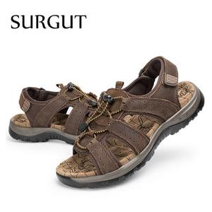Image 5 - Surgut ブランド通気性のサンダルの本物の革の靴男性のサンダルノンスリップビーチ夏スリッパ男性ビッグサイズ