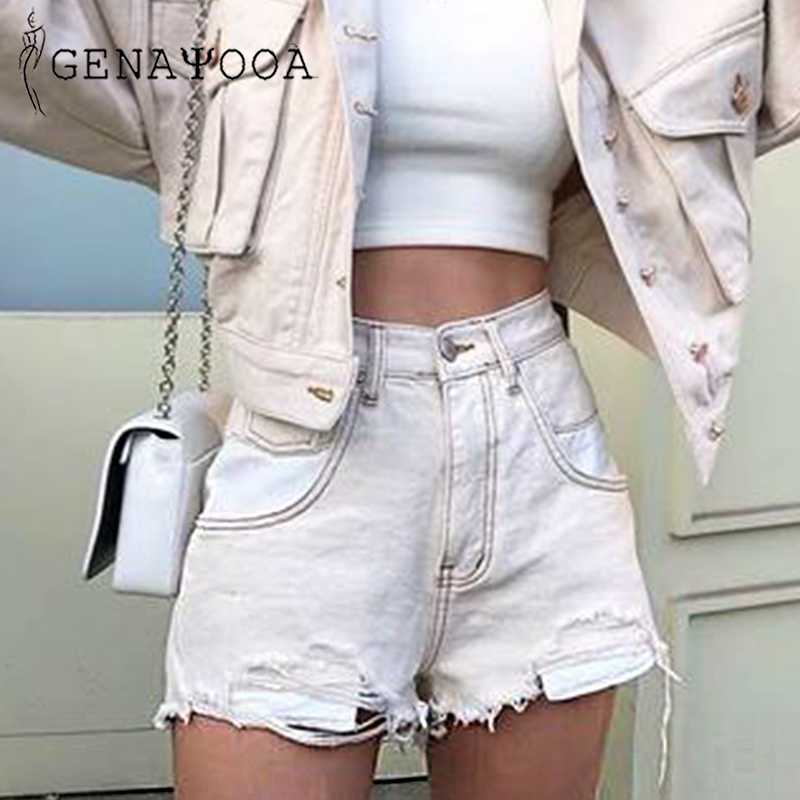 Genayooa Vogue Patchwork Womens Denim Shorts Ripped Cotton Washed High Waist Jean Shorts Women Summer 2019 Short Feminino