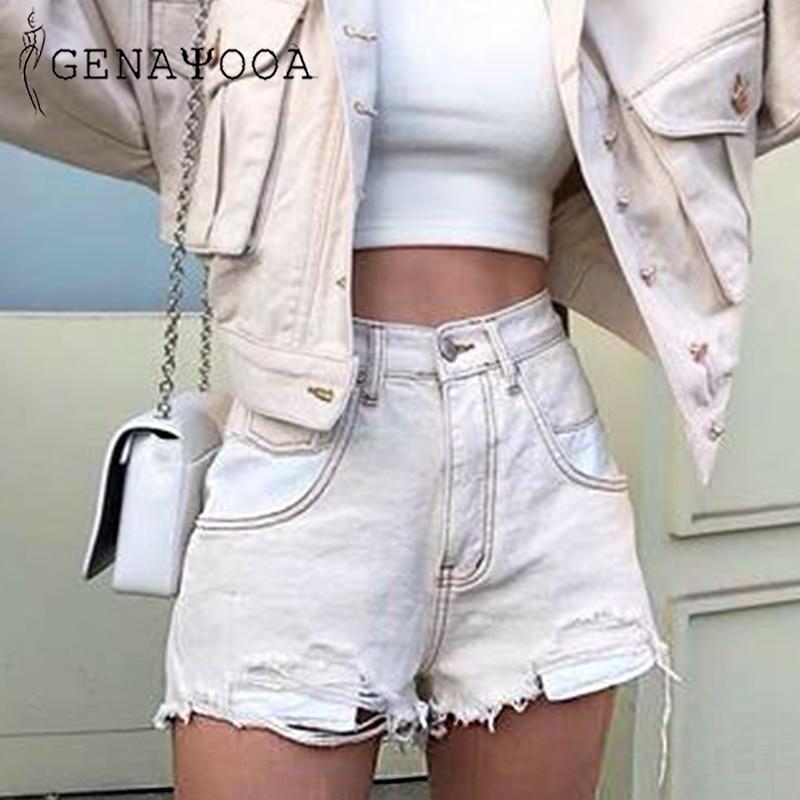 Genayooa Vogue Patchwork Womens Denim Shorts Ripped Cotton Washed High Waist Jean Shorts Women Summer 2019 Short Feminino