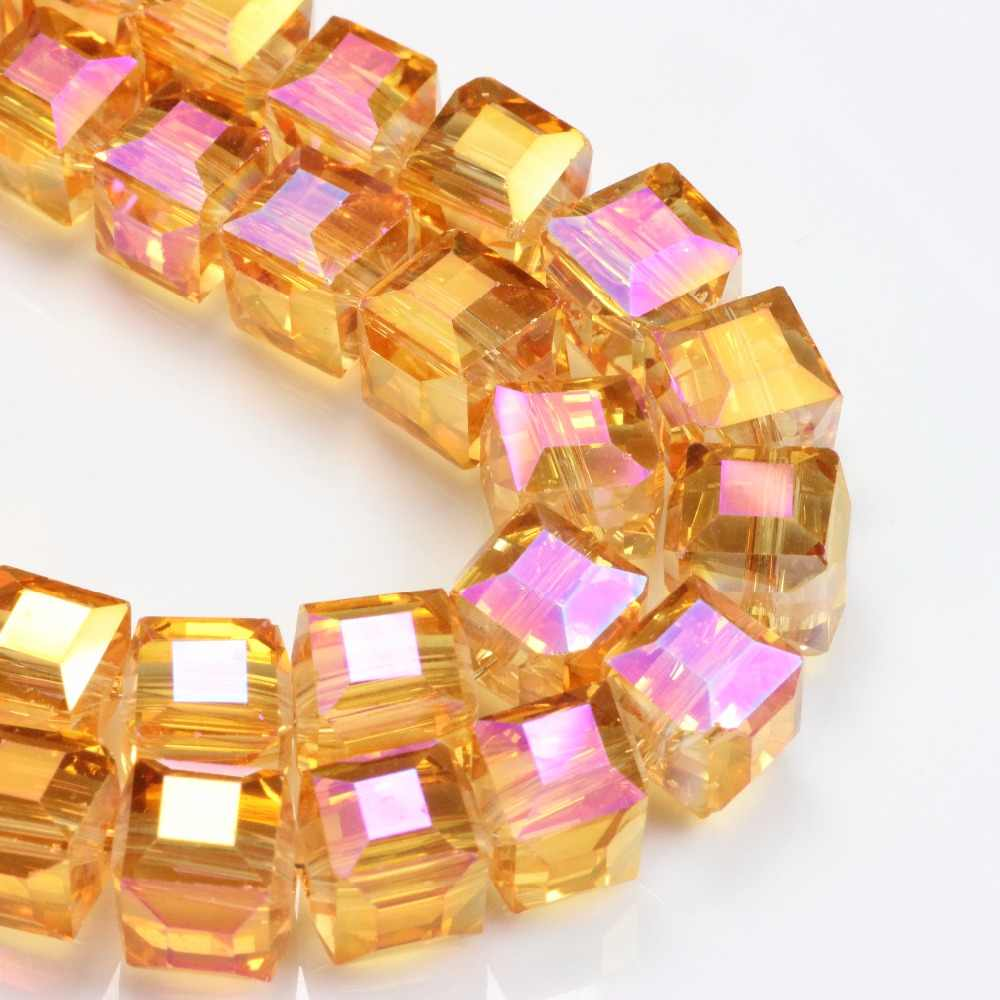 Cube Glass Crystal Bead For Jewelry Makings Loose Spacer Beads Material Supply